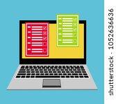 online form survey on pc... | Shutterstock .eps vector #1052636636