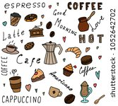 set of hand drawn coffee... | Shutterstock .eps vector #1052642702