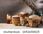 easter bread  quail eggs and... | Shutterstock . vector #1052650025