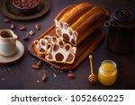 leopard pattern chocolate bread ... | Shutterstock . vector #1052660225