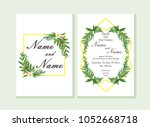 wedding invitation  floral... | Shutterstock .eps vector #1052668718