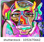 portrait of colorful cow in... | Shutterstock .eps vector #1052670662