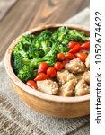 bowl of broccoli and chicken...   Shutterstock . vector #1052674622