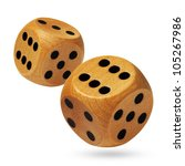 photo of wooden dices being... | Shutterstock . vector #105267986