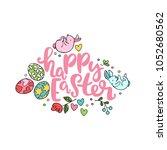 happy easter. lettering. bunny  ... | Shutterstock .eps vector #1052680562