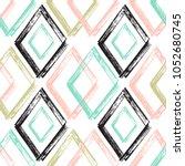 rhombus paint brush strokes... | Shutterstock .eps vector #1052680745