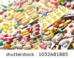 pills close up and colorful...   Shutterstock . vector #1052681885