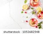 summer refreshing drinks  fruit ...   Shutterstock . vector #1052682548