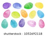 colorful watercolor easter eggs ... | Shutterstock . vector #1052692118