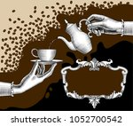 woman's hands with a coffee pot ... | Shutterstock .eps vector #1052700542