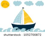 cute illustration with a sea... | Shutterstock .eps vector #1052700872