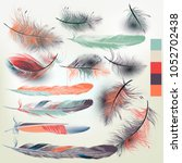 collection of vector feathers... | Shutterstock .eps vector #1052702438