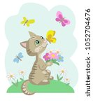 kitten with chamomiles and... | Shutterstock .eps vector #1052704676