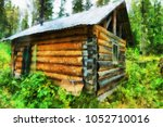 hunter hut in taiga with drying ...   Shutterstock . vector #1052710016
