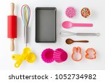 baking and kitchen utensils and ... | Shutterstock . vector #1052734982