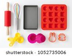 baking and kitchen utensils and ... | Shutterstock . vector #1052735006