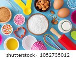 baking ingredients and utensils ... | Shutterstock . vector #1052735012