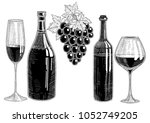 wine bottle  bunch of grapes... | Shutterstock .eps vector #1052749205