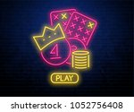 neon lottery background on... | Shutterstock .eps vector #1052756408