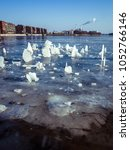 Small photo of Unusual ice formations in the river Spree, Berlin