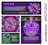 hookah bar poster  flyer and... | Shutterstock .eps vector #1052771222
