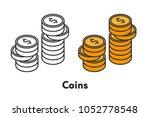 isometric golden dollar coins...   Shutterstock .eps vector #1052778548