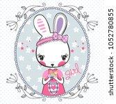 beautiful rabbit girl wearing a ... | Shutterstock .eps vector #1052780855