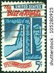 usa   circa 1966  a stamp... | Shutterstock . vector #105280925