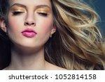 beauty female woman face... | Shutterstock . vector #1052814158