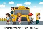 illustration of kids standing... | Shutterstock .eps vector #105281762
