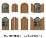 vintage wooden window and door... | Shutterstock .eps vector #1052840948