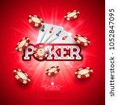 casino illustration with poker...   Shutterstock .eps vector #1052847095