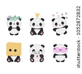 set of 6 cute vector kawaii... | Shutterstock .eps vector #1052872832