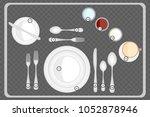 dinner place setting  table... | Shutterstock .eps vector #1052878946