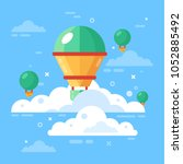 hot air balloons in sky with... | Shutterstock .eps vector #1052885492