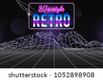 80s style wireframe background. ... | Shutterstock .eps vector #1052898908