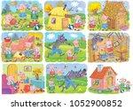 three little pigs. fairy tale.... | Shutterstock . vector #1052900852