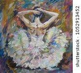 ballerina painting acrylic and...   Shutterstock . vector #1052913452