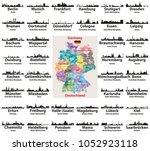 germany map with largest cities ... | Shutterstock .eps vector #1052923118