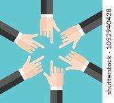 many hands of businessmen...   Shutterstock .eps vector #1052940428