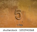 number five on painted shining... | Shutterstock . vector #1052943368