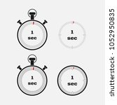 timer 1 second on gray... | Shutterstock .eps vector #1052950835