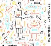 cute robots seamless pattern.... | Shutterstock .eps vector #1052957216