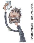 depressive alcoholic. comic... | Shutterstock .eps vector #1052968046