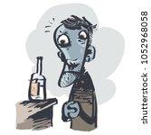 depressive alcoholic. comic... | Shutterstock .eps vector #1052968058