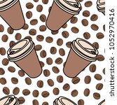 coffee cups with coffee beans... | Shutterstock .eps vector #1052970416