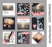 9 square layout templates for... | Shutterstock .eps vector #1052984402