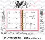 week organizer. opened notebook ... | Shutterstock .eps vector #1052986778