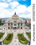 "Small photo of CIUDAD DE MEXICO, MEXICO, AUGUST 2018, Aerial frontal view of a famous landmark in Mexico´s Downtown ""El palacio de las Bellas Artes"" which means: Palace of Fine Arts."