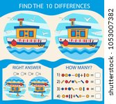 find the difference the two sea ... | Shutterstock .eps vector #1053007382